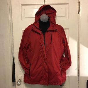 Eddie Bauer Weather Edge Red Hooded Jacket Zip Frt